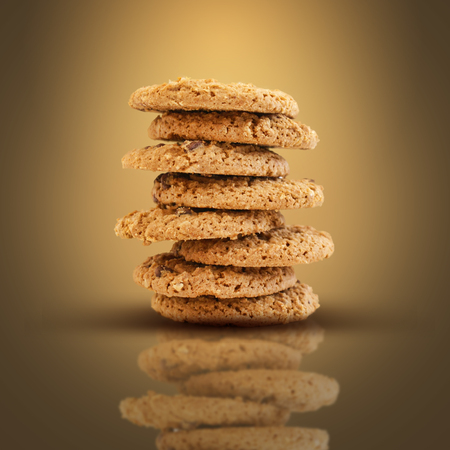 chocolate cookies: Stack of chocolate chip cookies Stock Photo