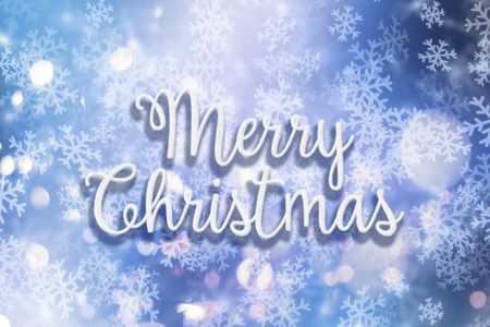 blizzards: Decorative background with the words Merry Christmas in a snow style with snowflakes and bokeh lights
