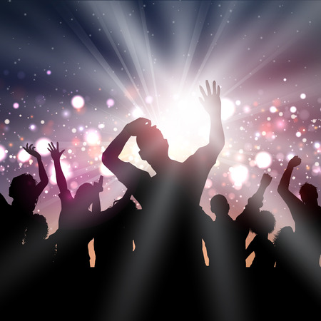 disco lights: Silhouette of a party crowd on a disco lights background