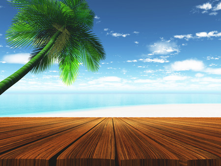 wooden deck: 3D render of a wooden deck with tropical beach in background