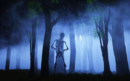 arboles secos: 3D render de un fondo de Halloween de un esqueleto en un bosque de niebla Foto de archivo