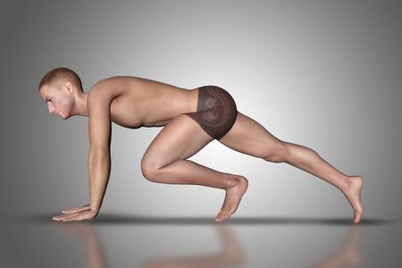nudo maschile: 3D rendono di una figura maschile in una posizione yoga
