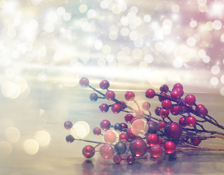 christmas red: Christmas background with red berry decorations with retro effect