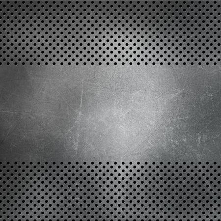 acero: Fondo metálico perforado con arañazos y manchas
