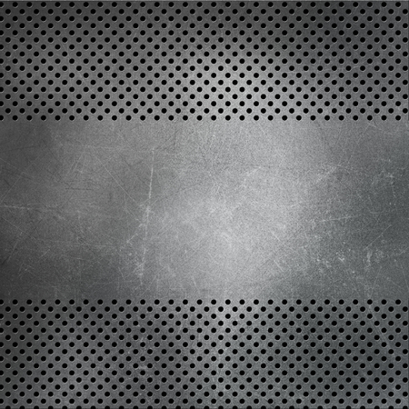 Perforated metallic background with scratches and stains
