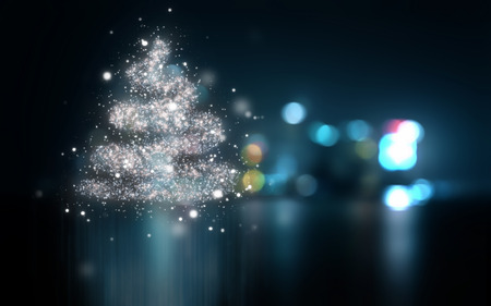 new year tree: Abstract Christmas background with bokeh lights