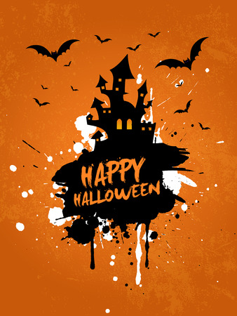 Grunge Halloween background with spooky house and bats