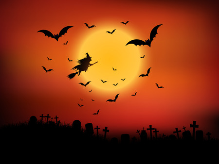 halloween background: Halloween landscape with witch flying through the air