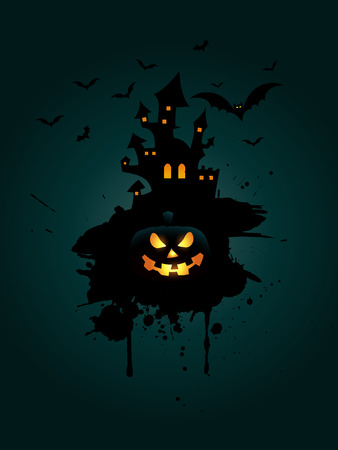 spooky house: Grunge Halloween background with pumpkin and spooky house