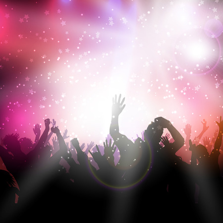 party background: Silhouette of a party crowd on an abstract background Stock Photo