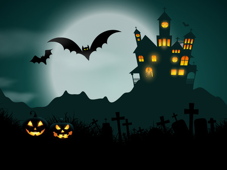 spooky house: Halloween background with haunted house and pumpkins