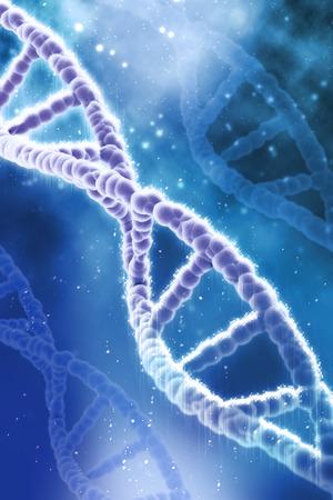 dna strands: 3D medical background with glowing DNA strands