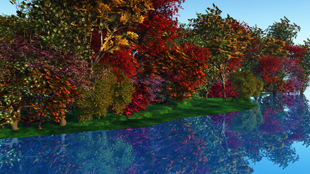 riverside: 3D render of colourful trees against a riverside