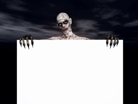 blank sign: 3D render of a zombie figure holding a blank sign