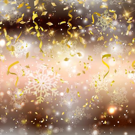 serpentinas: Fondo del oro con confeti y serpentinas