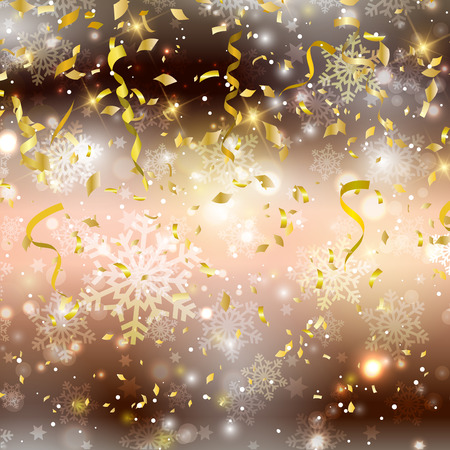 serpentinas: Gold background with confetti and streamers Foto de archivo