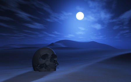 buried: 3D render of a skull buried in sand in a desert at night