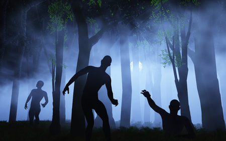 3D render of zombies in spooky foggy forest