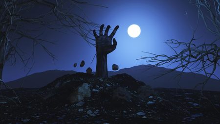 3d halloween: 3D Halloween background with zombie hand bursting out of the ground