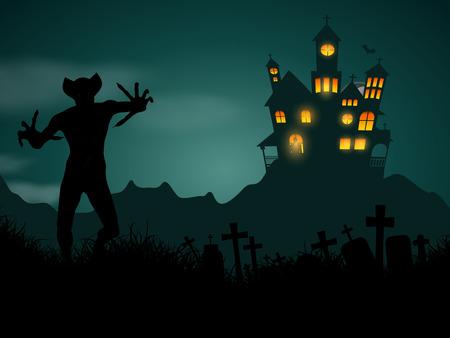 halloween lantern: Halloween background with haunted house and demonic figure