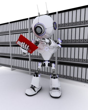 filing documents: 3D Render of a Robot filing documents