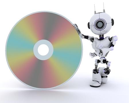 chrome man: 3D Render of a Robot with a dvd