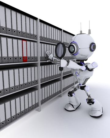 chrome man: 3D Render of a Robot searching documents