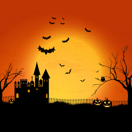 scary halloween: Halloween landscape with haunted house and graveyard Stock Photo