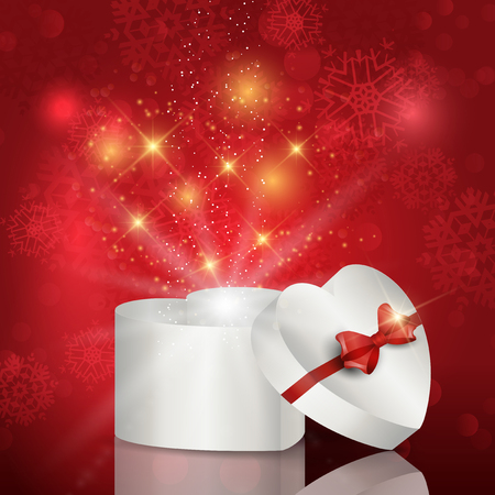 Heart shaped gift box background on bokeh lights background