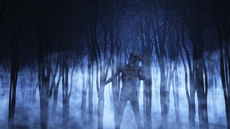 demonio: 3D rinden de una figura demoníaca en un bosque de niebla