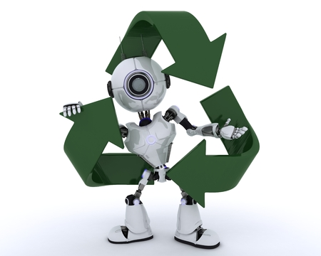 recycling symbols: 3D Render of a Robot with recycling symbol