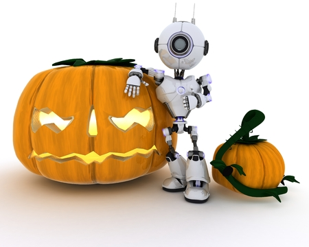 chrome man: 3D Render of a Robot with holiday jack-o-lantern