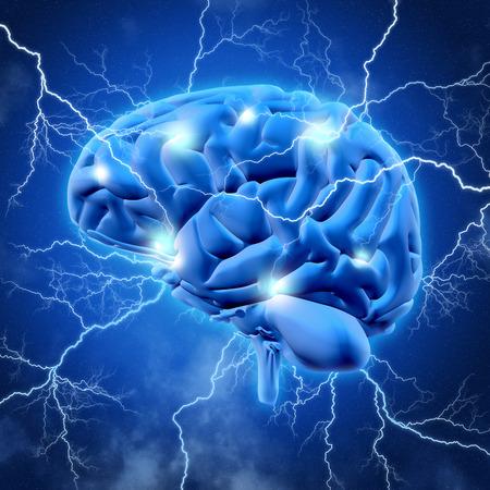 cerebro humano: 3D render de un cerebro con pernos de aligeramiento Foto de archivo