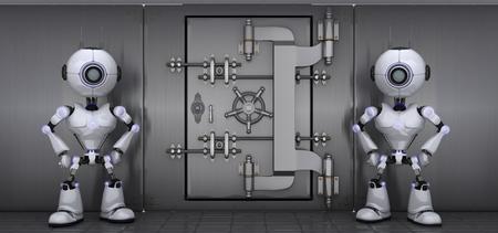 lock  futuristic: 3D Render of a Robots Guarding a vault