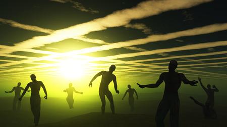 frighten: 3D render of spooky zombies in green landscape