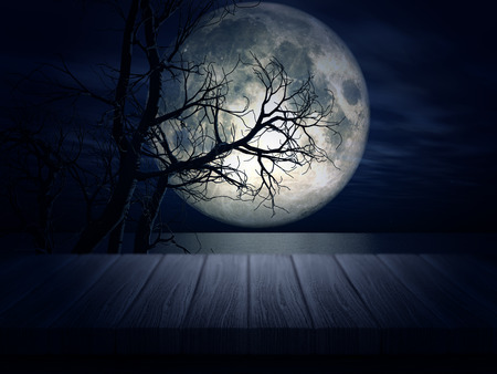 3d halloween: 3D render of a wooden table looking out to a spooky Halloween landscape Stock Photo