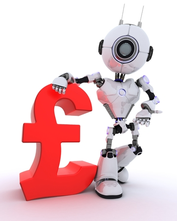 chrome man: 3D Render of a Robot with pound sign