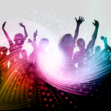 dancing: Silhouette of a party crowd on an abstract background with stars design