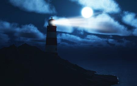 3D render van een vuurtoren met een stormachtige zee bij nacht