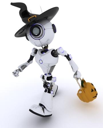 fiestas electronicas: Render 3D de un Robot con el d�a de fiesta jack-o-linterna Foto de archivo