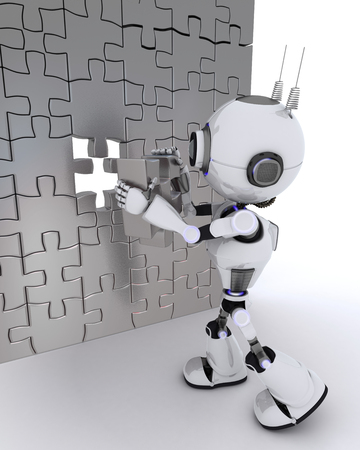 chrome man: 3D Render of a Robot with jigsaw