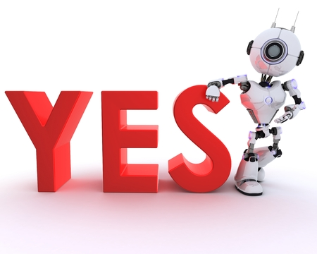 chrome man: 3D Render of a Robot with say sign Stock Photo