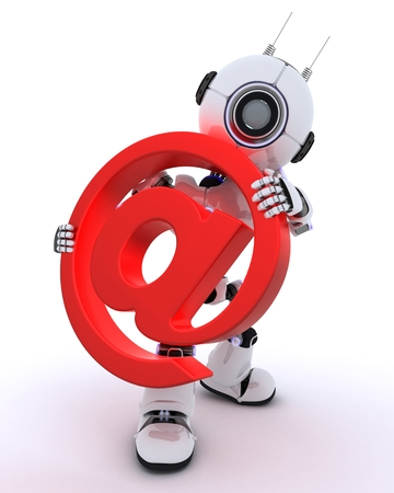 chrome man: 3D Render of a Robot with email @ sign