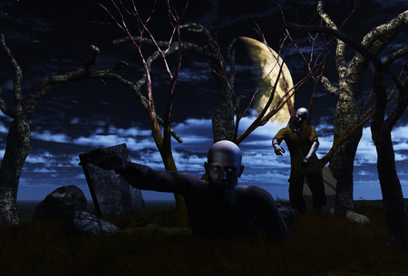 haunted: 3D render of zombies in a haunted landscape