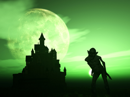 haunting: 3D render of a demonic figure with a spooky castle