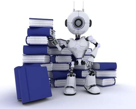 chrome man: 3D Render of an Robot with stack of books