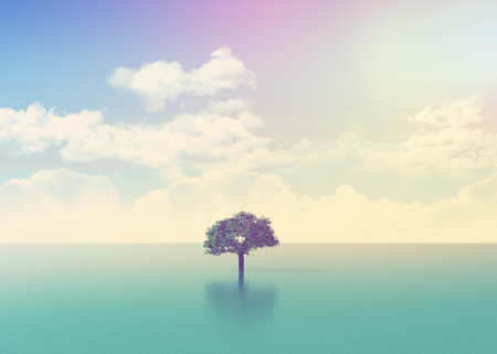 3D landscape with a tree in the sea with retro effect added Stok Fotoğraf