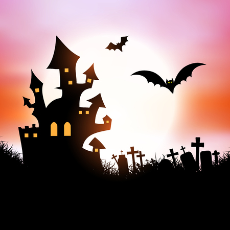 graves: Halloween background with spooky house and bats Stock Photo