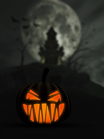 monsters house: 3D Halloween background with scary Jack o Lantern and castle in the background Stock Photo