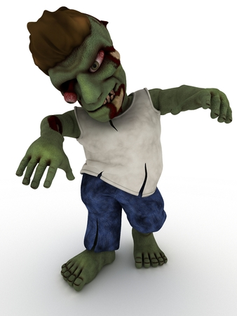 3D Render of a Cartoon Zombie Character Stock Photo